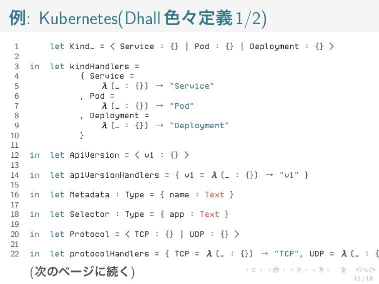 例: Kubernetes(Dhall色々定義1/2) 1 let Kind_ = < Ser...