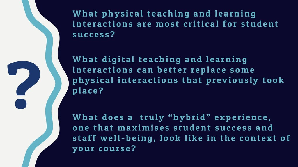 ? W hat physical teaching and learning interact...