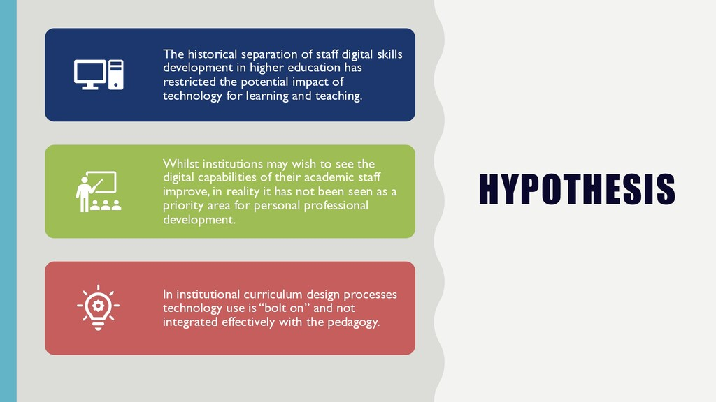 HYPOTHESIS The historical separation of staff d...