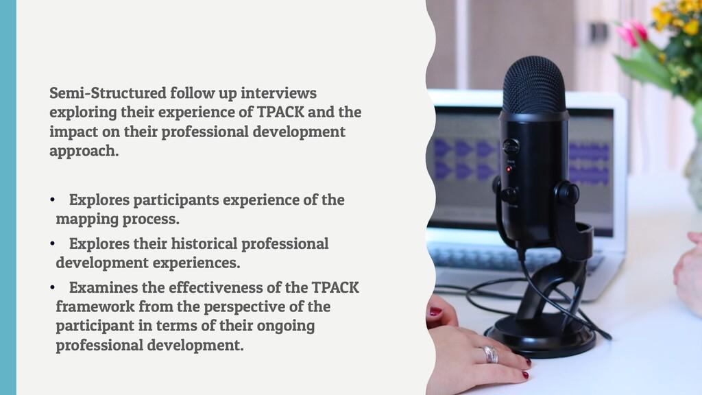 Semi-Structured follow up interviews exploring ...