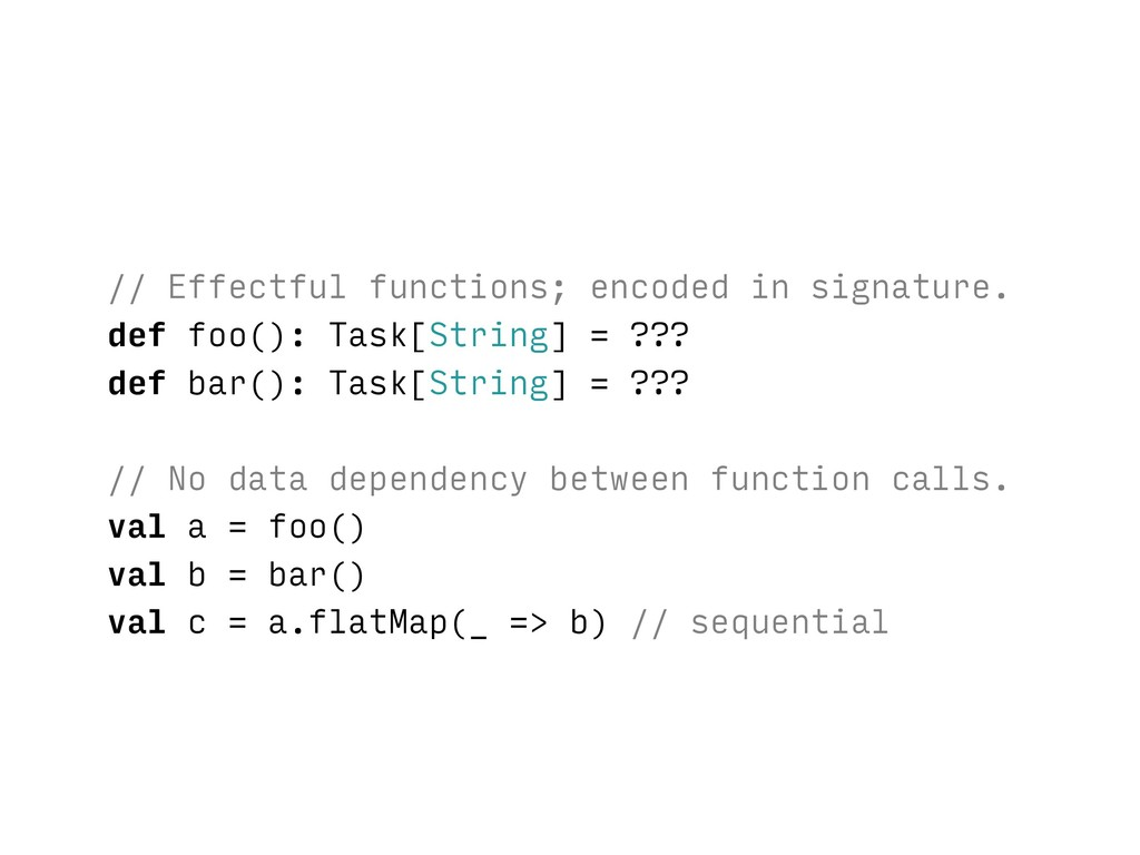 // Effectful functions; encoded in signature. d...