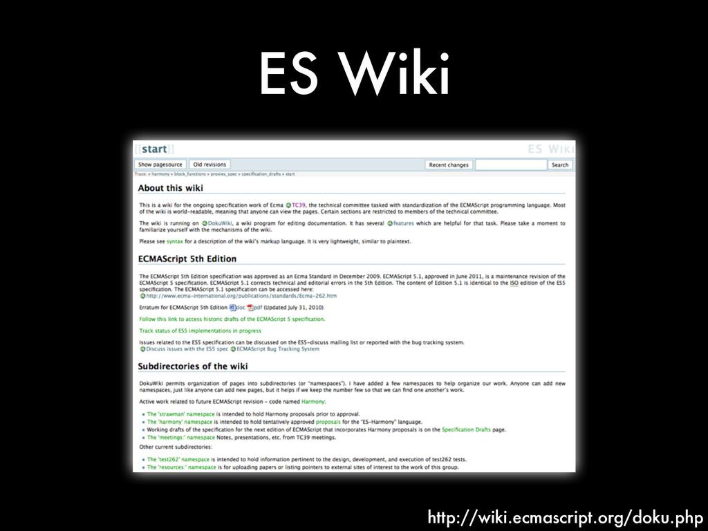 ES Wiki http://wiki.ecmascript.org/doku.php