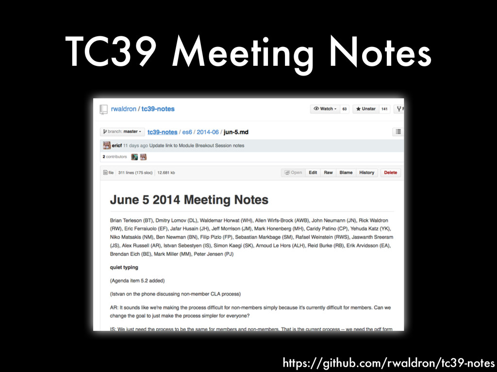 TC39 Meeting Notes https://github.com/rwaldron/...