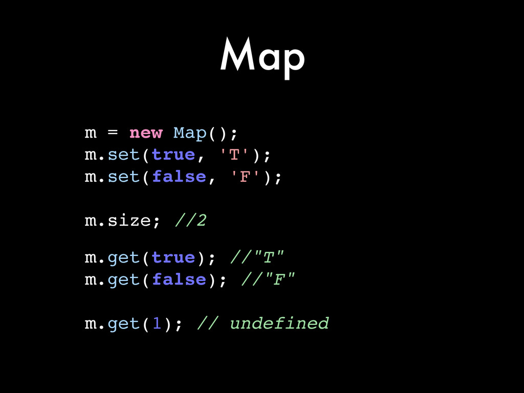 Map m = new Map();! m.set(true, 'T');! m.set(fa...