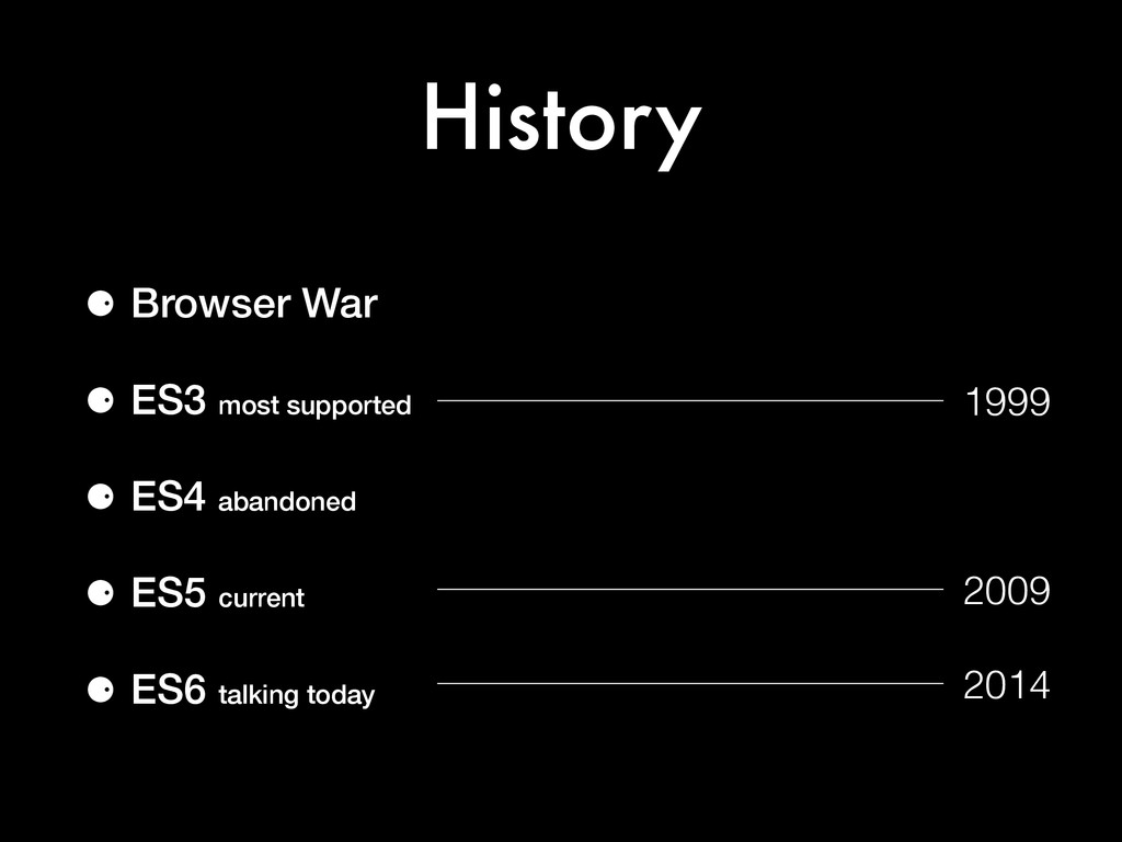 History ⚈ Browser War ⚈ ES3 most supported ⚈ ES...