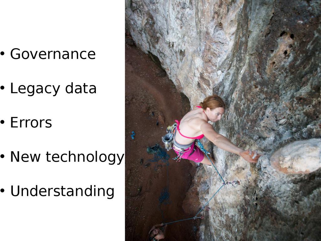 • Governance • Legacy data • Errors • New techn...