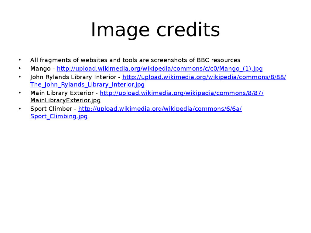 Image credits • All fragments of websites and t...