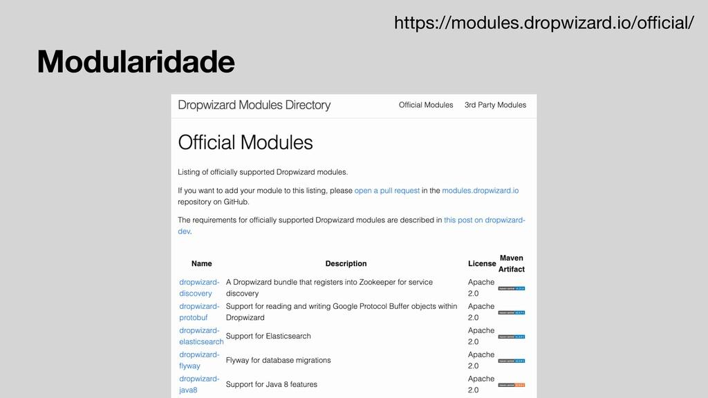 Modularidade https://modules.dropwizard.io/offici...