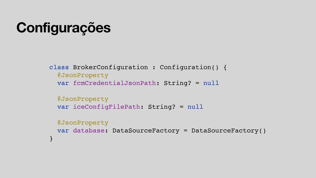 Configurações class BrokerConfiguration : Confi...