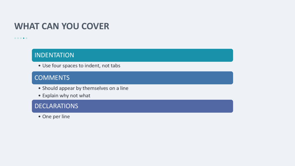 WHAT CAN YOU COVER INDENTATION • Use four space...