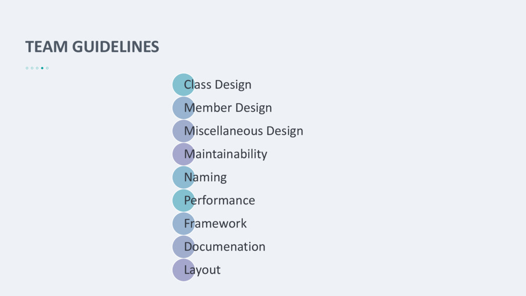 TEAM GUIDELINES Class Design Member Design Misc...