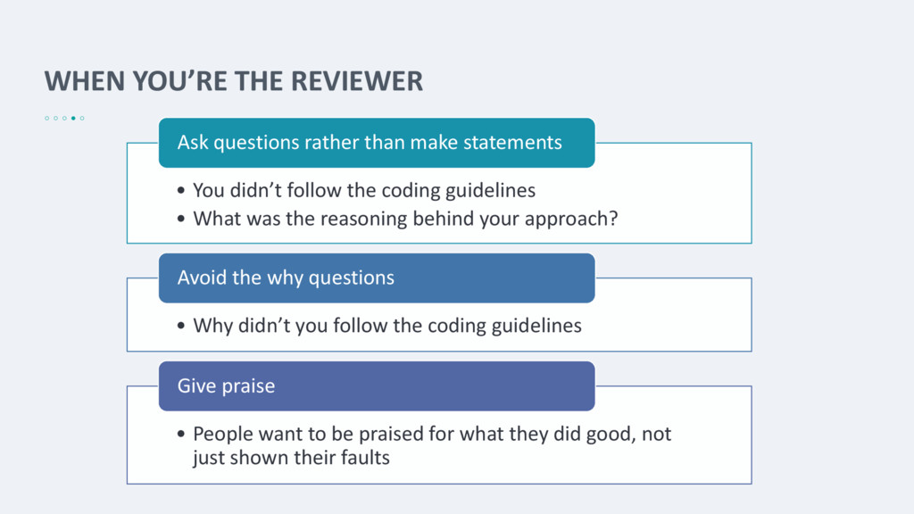 WHEN YOU'RE THE REVIEWER • You didn't follow th...