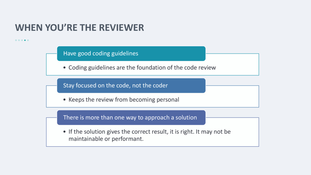 WHEN YOU'RE THE REVIEWER • Coding guidelines ar...