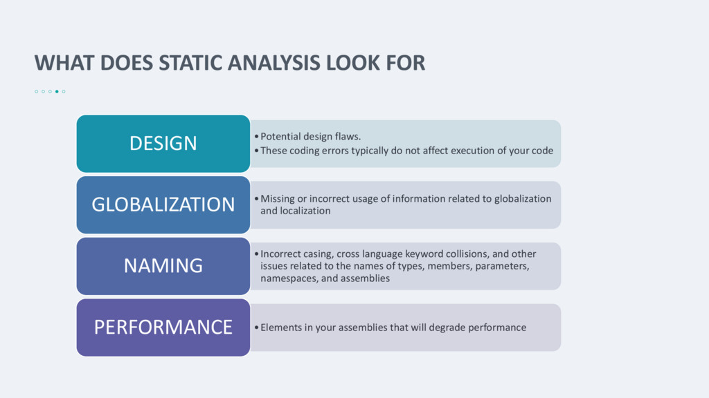 WHAT DOES STATIC ANALYSIS LOOK FOR •Potential d...