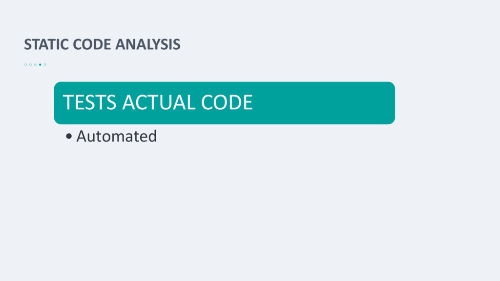 STATIC CODE ANALYSIS TESTS ACTUAL CODE • Automa...
