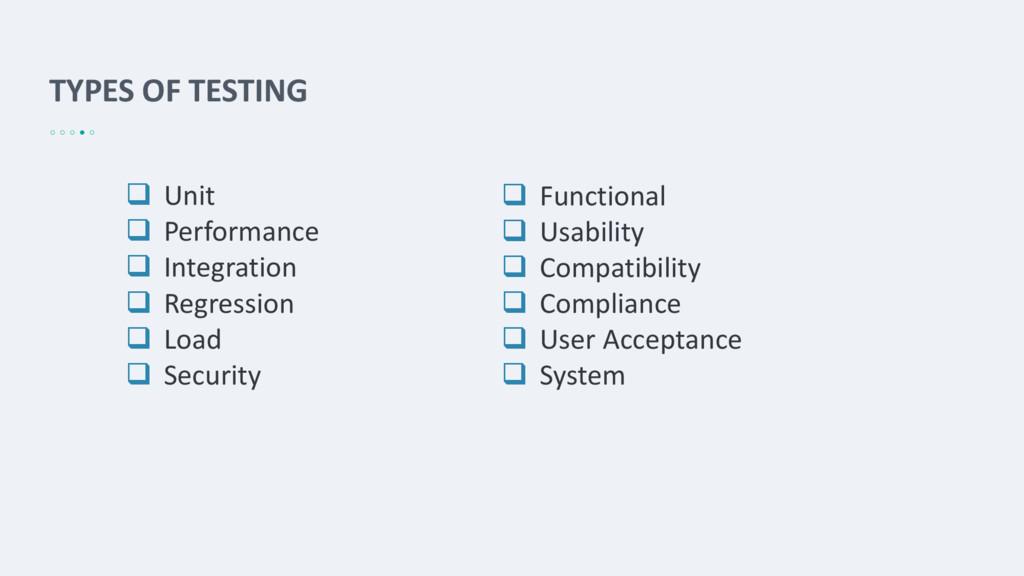 TYPES OF TESTING  Unit  Performance  Integra...