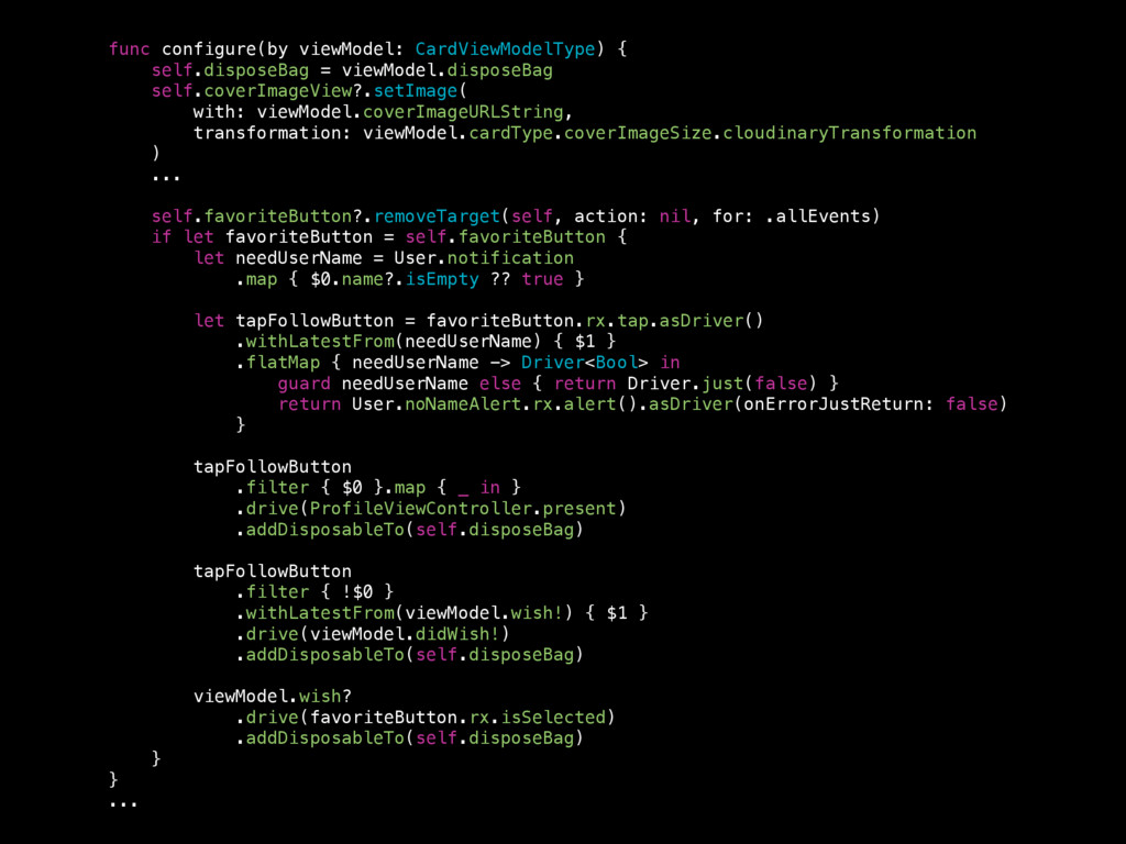 func configure(by viewModel: CardViewModelType)...