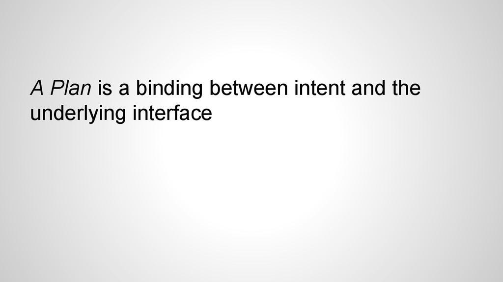 A Plan is a binding between intent and the unde...