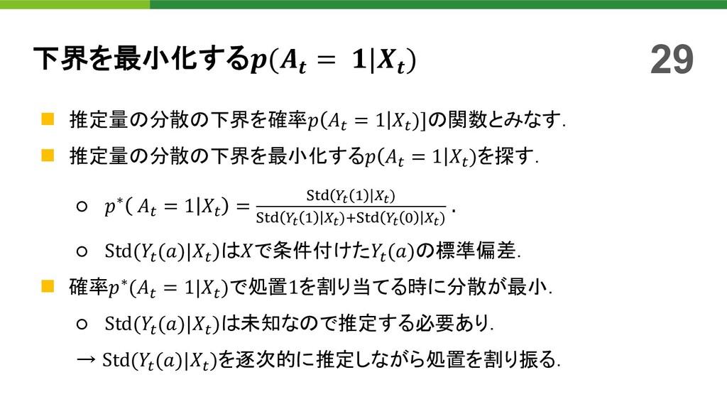 下界を最小化する( = | ) n 推定量の分散の下界を確率 ' = 1 ')]の関数とみなす...
