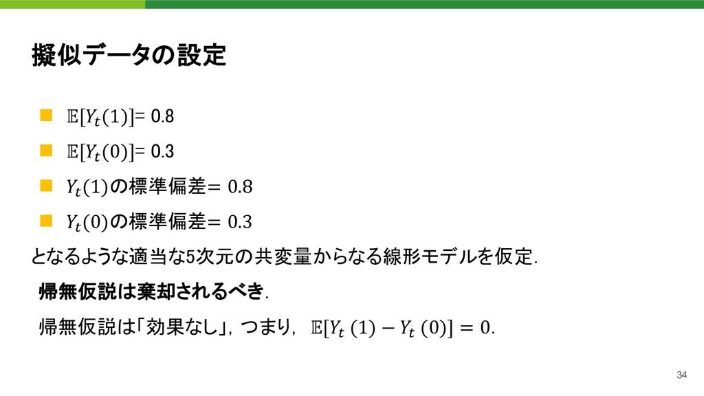 34 擬似データの設定 n ['(1)]= 0.8 n ['(0)]= 0.3 n '(1)の...