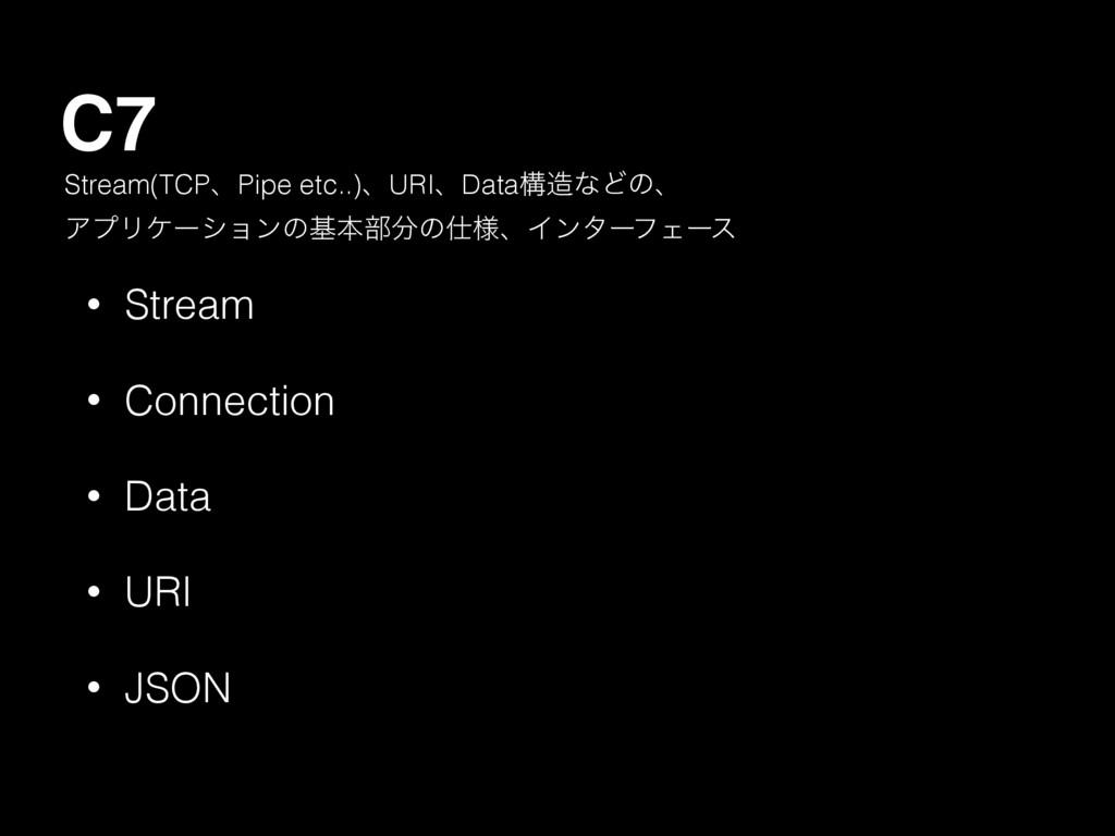 C7 • Stream • Connection • Data • URI • JSON St...