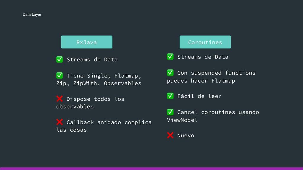 Data Layer Coroutines RxJava ✅ Streams de Data ...