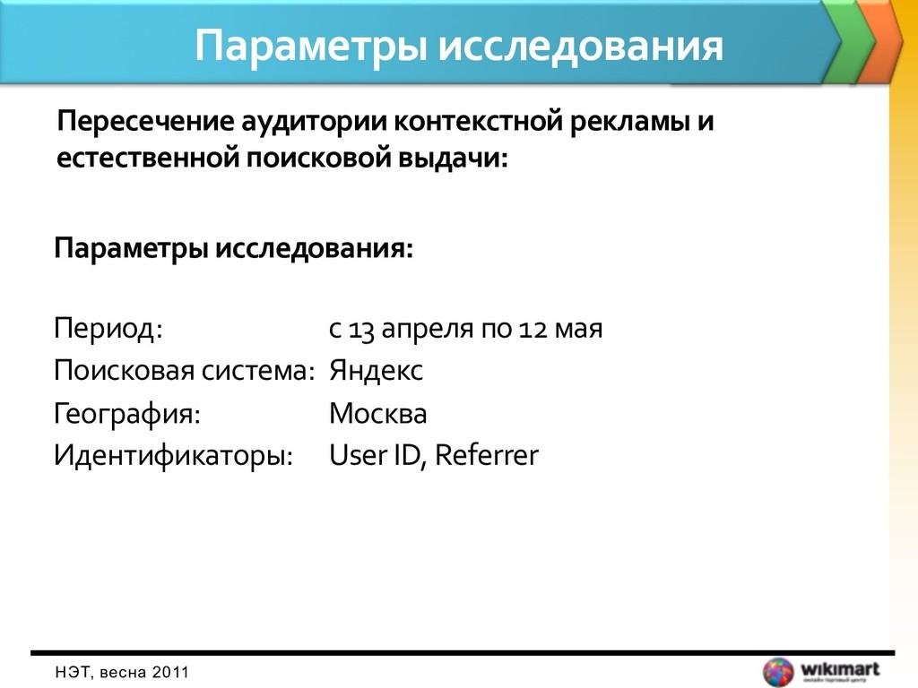 Параметры исследования НЭТ, весна 2011 Пересече...