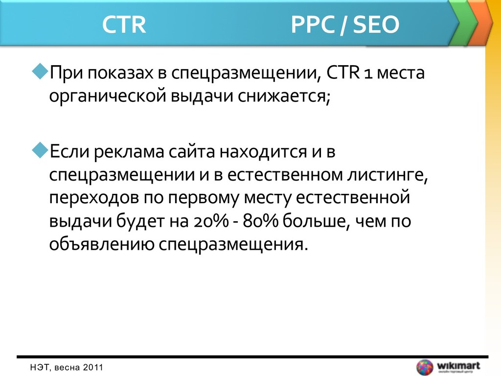 CTR PPC / SEO uПри показах в спецразмещении, CT...