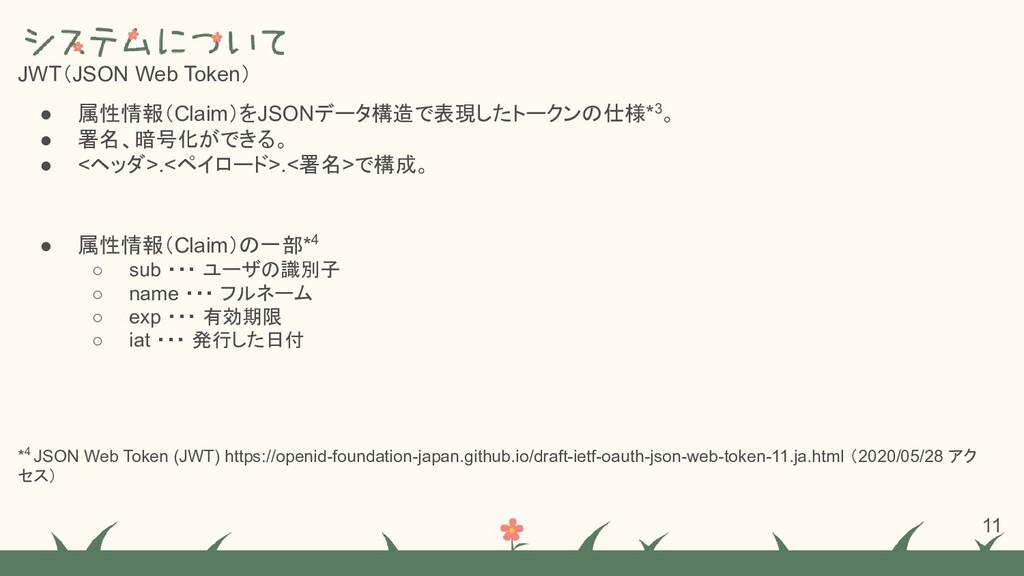 JWT(JSON Web Token) ● 属性情報(Claim)をJSONデータ構造で表現し...