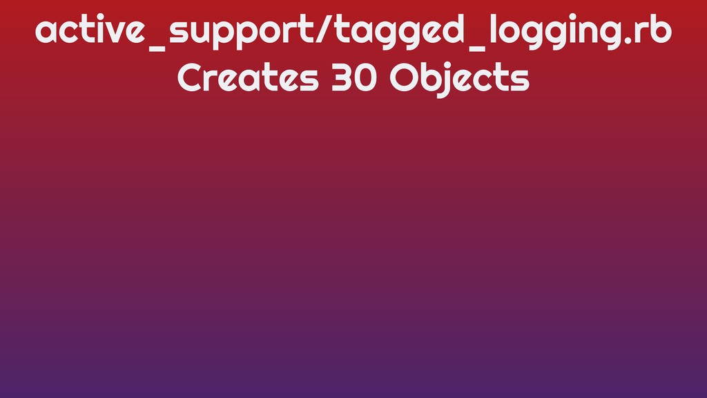 active_support/tagged_logging.rb Creates 30 Obj...