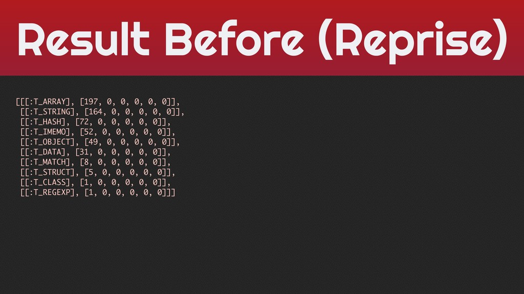 Result Before (Reprise) [[[:T_ARRAY], [197, 0, ...