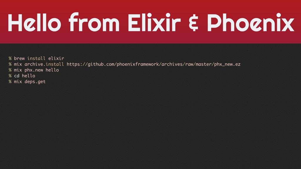 Hello from Elixir & Phoenix % brew install elix...