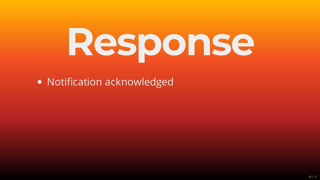 Response Notification acknowledged 38/71