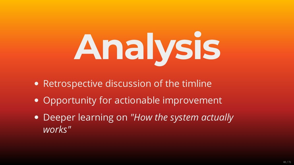 Analysis Retrospective discussion of the timlin...