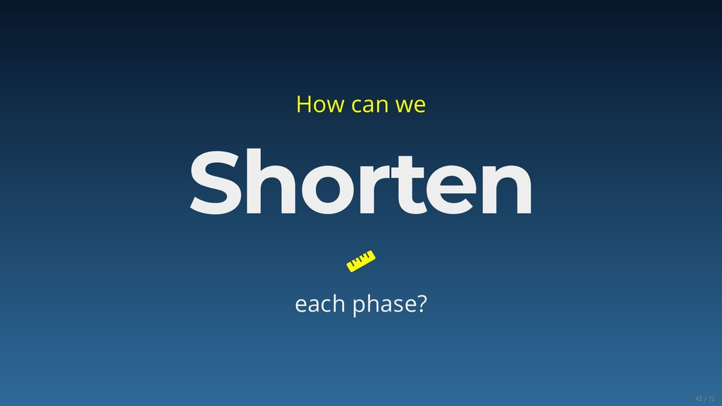 How can we Shorten  each phase? 42/71