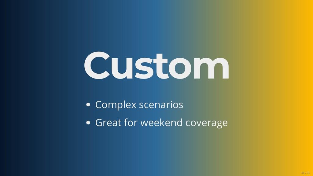 Custom Complex scenarios Great for weekend cove...
