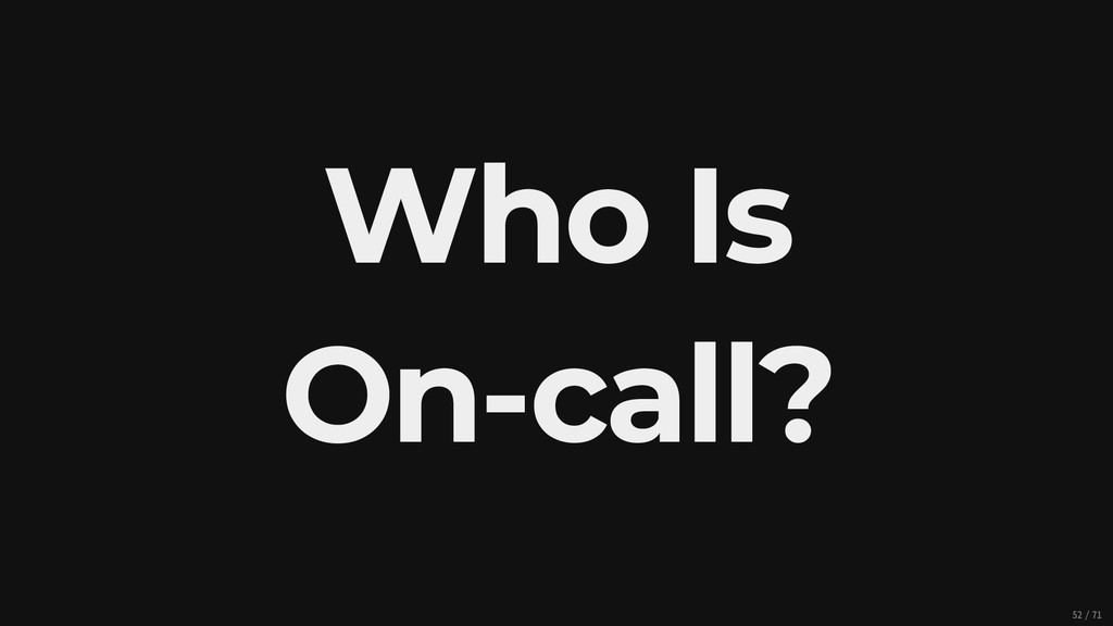 Who Is On-call? 52/71
