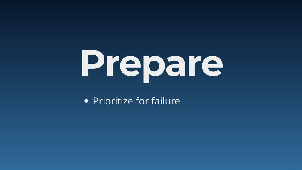 Prepare Prioritize for failure 62/71