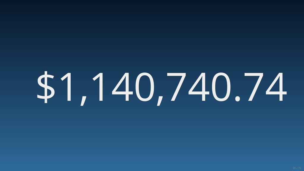 $1,140,740.74 10/71
