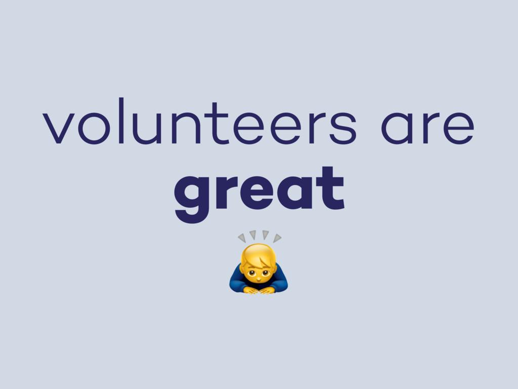 volunteers are great