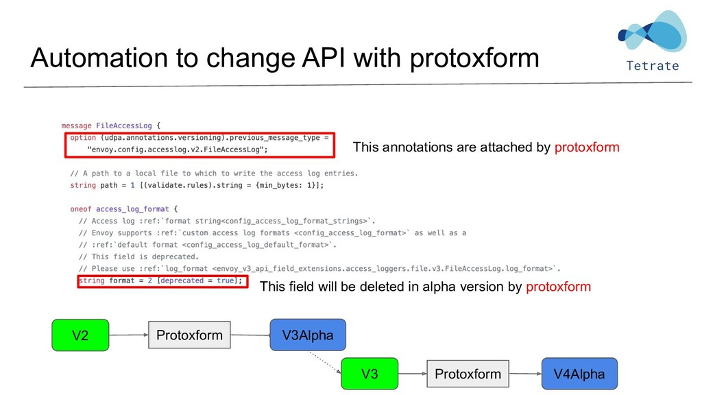 Automation to change API with protoxform This a...
