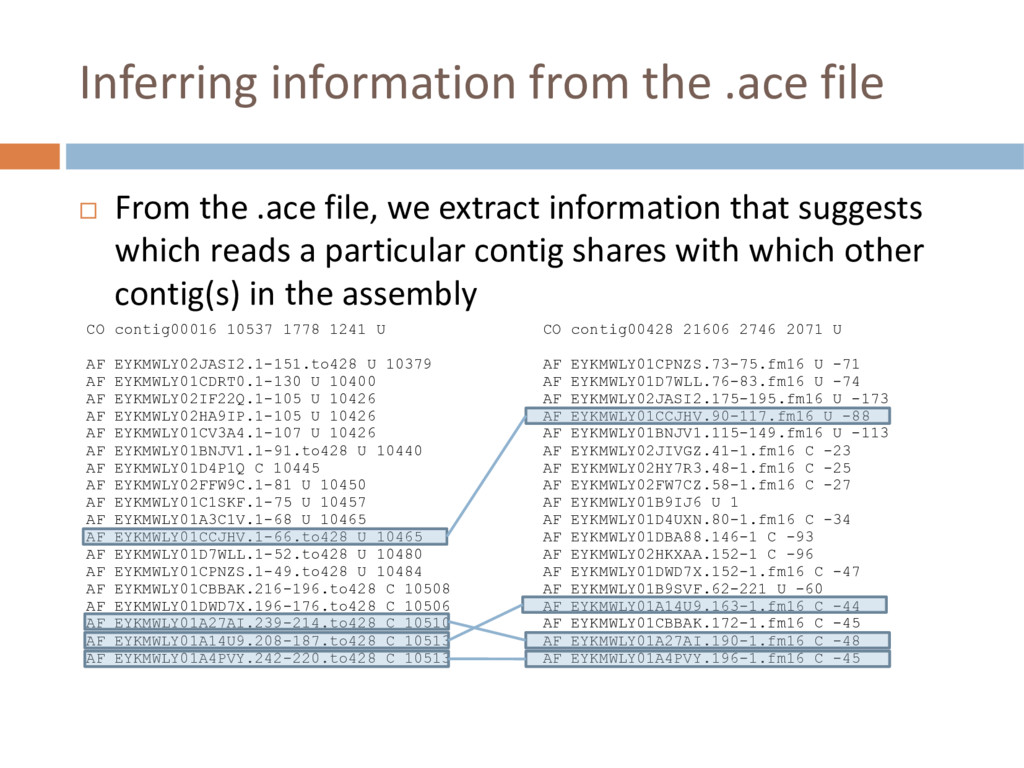 Inferring information from the .ace file ¨ From...
