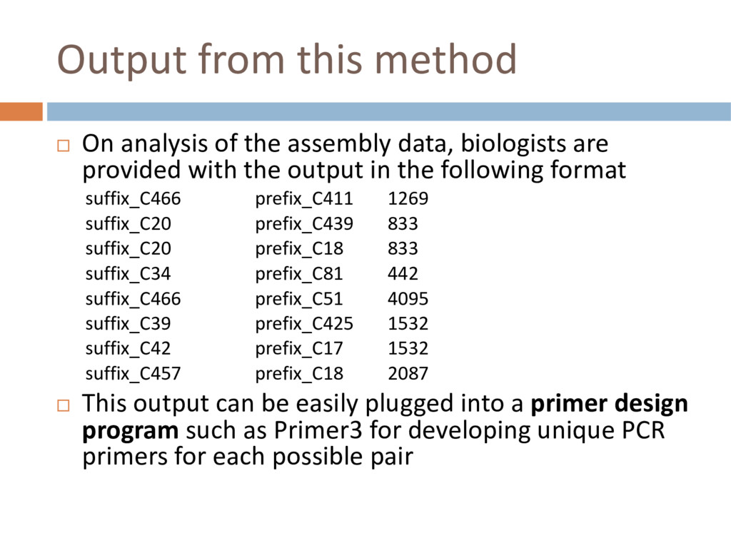 Output from this method ¨ On analysis of the as...