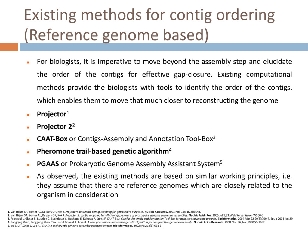 Existing methods for contig ordering (Reference...