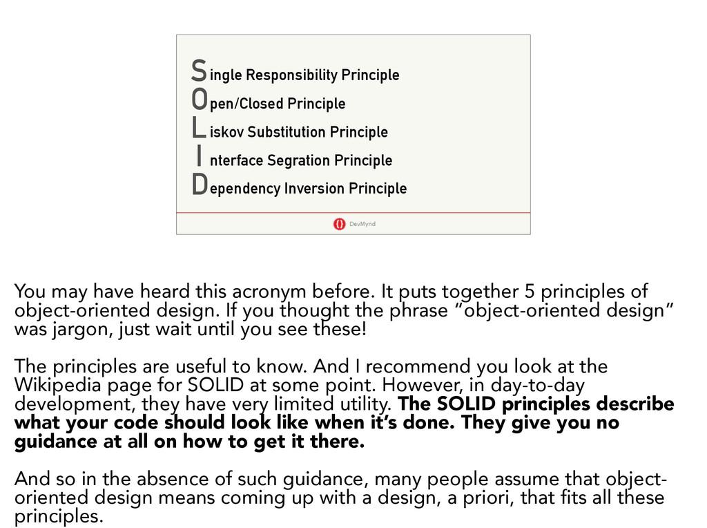 DevMynd S O L I D ingle Responsibility Principl...