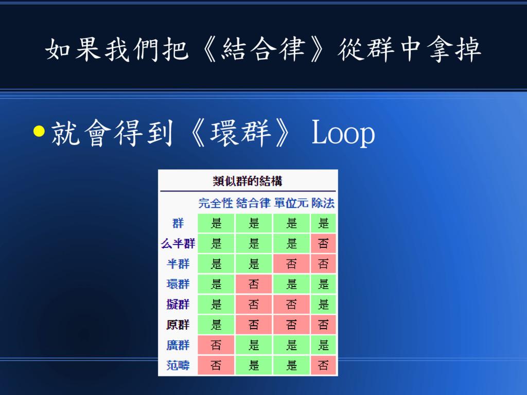 如果我們把《結合律》從群中拿掉 ● 就會得到《環群》 Loop