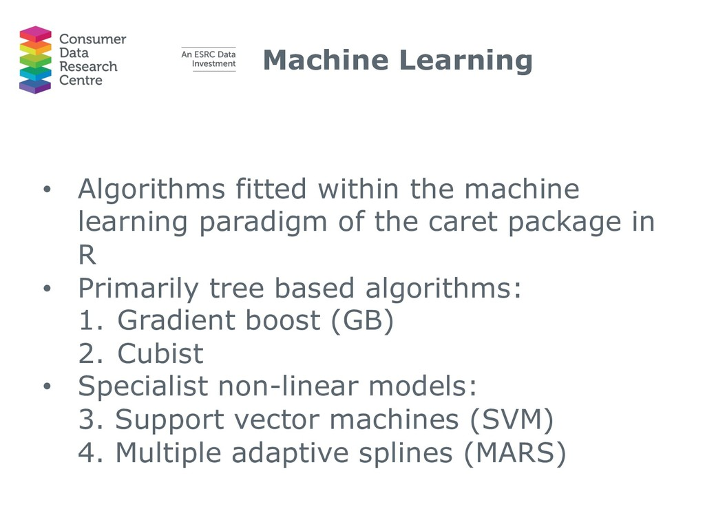 Machine Learning • Algorithms fitted within the...