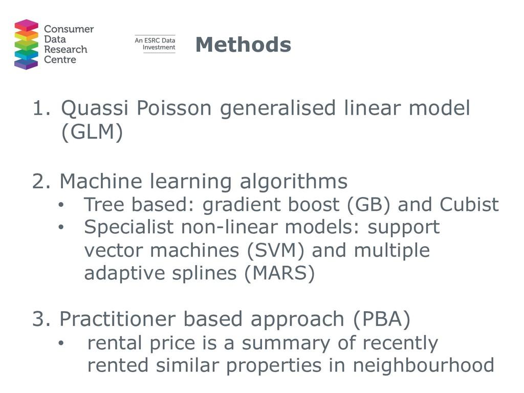 Methods 1. Quassi Poisson generalised linear mo...