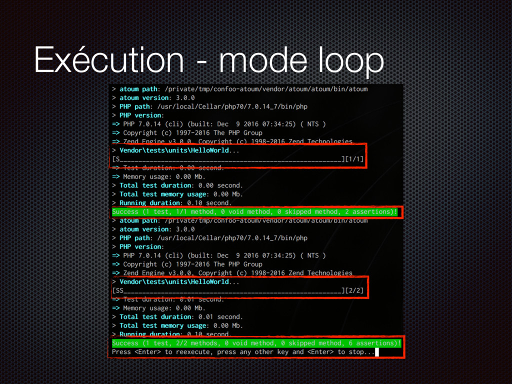 Exécution - mode loop