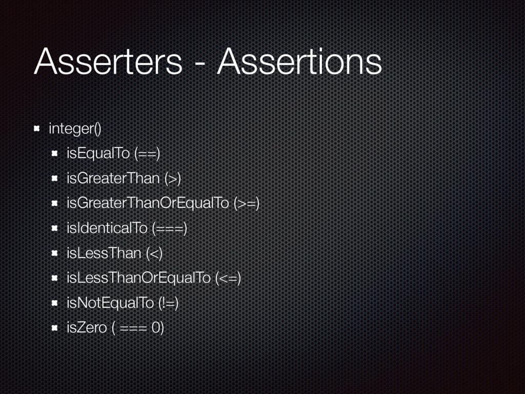 Asserters - Assertions integer() isEqualTo (==)...